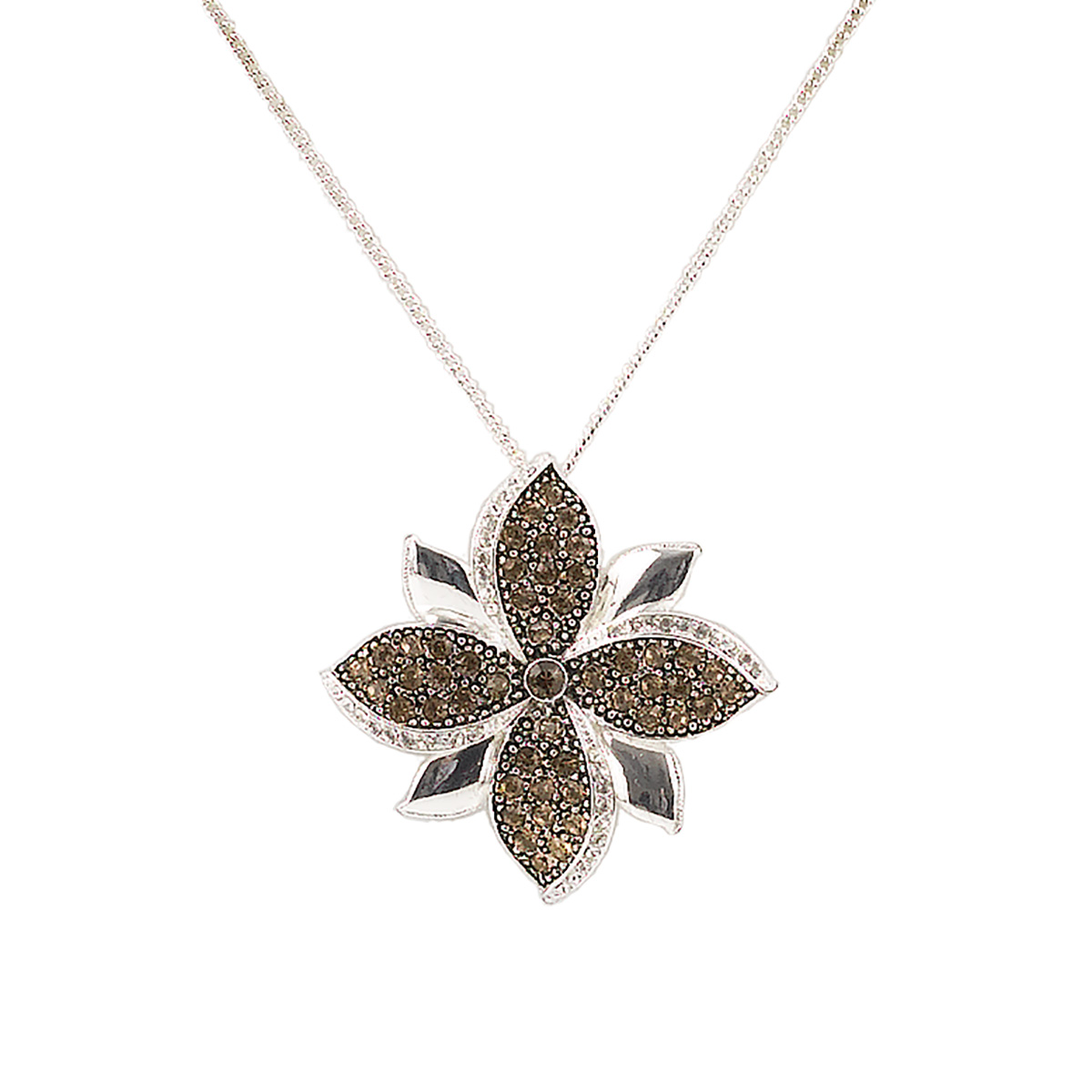 Chocolate Stone Floral Necklace