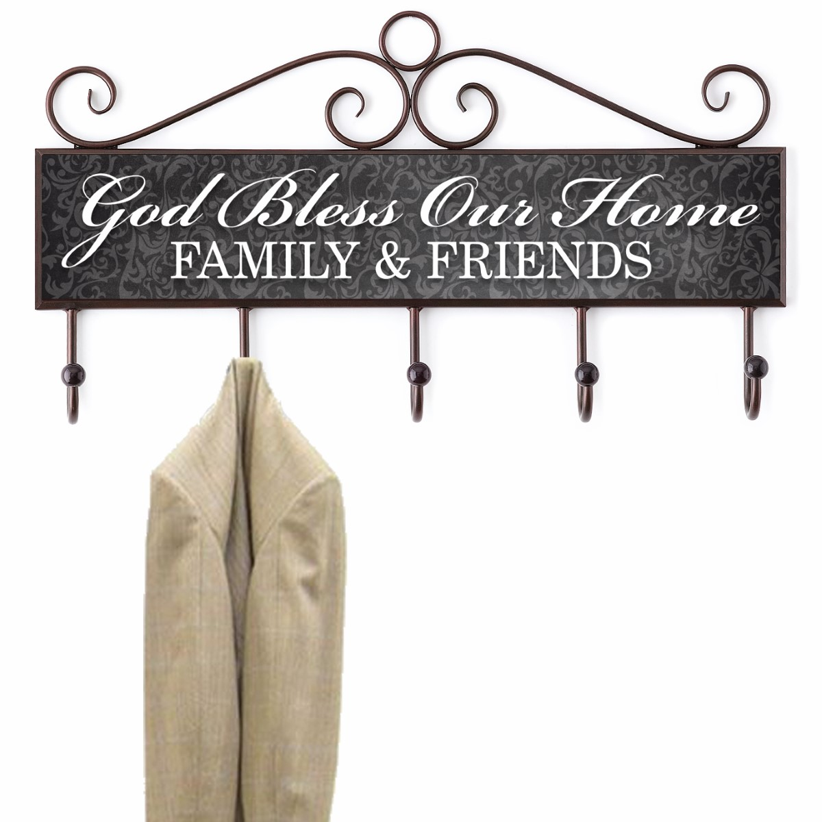 God Bless Our Home Plaque with Hooks