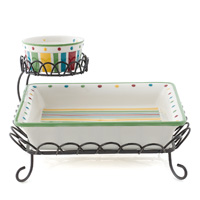 Simply Summer Two Tiered Chip & Dip - 3 Piece Set